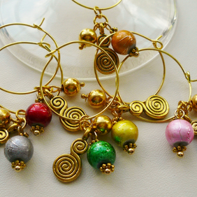 Gold Tone Swirl and  Beaded Wine Glass Charms     WGCB10