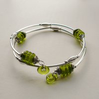 Lime Green Glass Bead and Silver Wrap Around Bangle Bracelet   KCJ1114