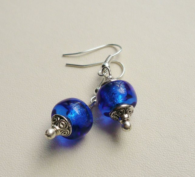 Royal Blue Clear Glass Beaded Tibetan Silver Earrings   KCJE1113
