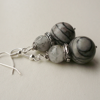 Spider Web Jasper and Rutilated Quartz  Silver Drop Dangle Earrings  KCJ1128
