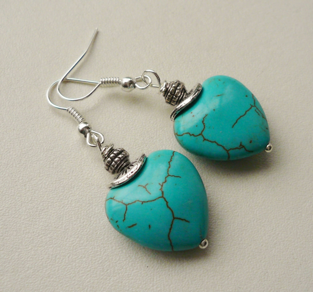 Turquoise Howlite Heart Tibetan Silver Earrings   KCJ1131
