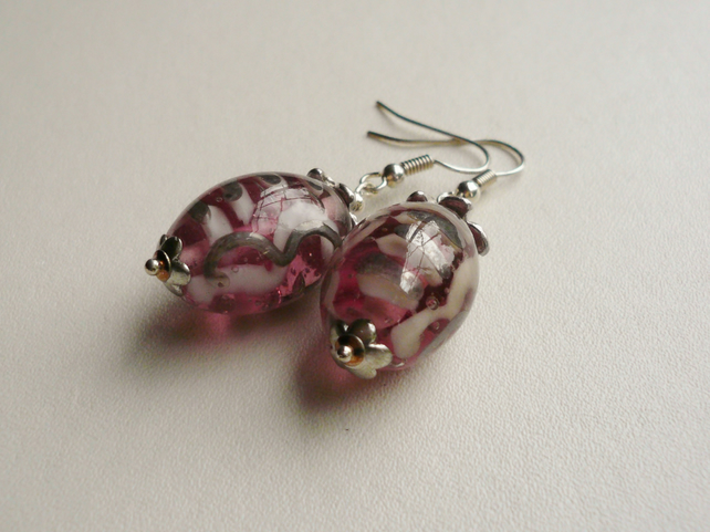 Indian Glass Pink Swirl Bead Dangle Earrings  KCJE16