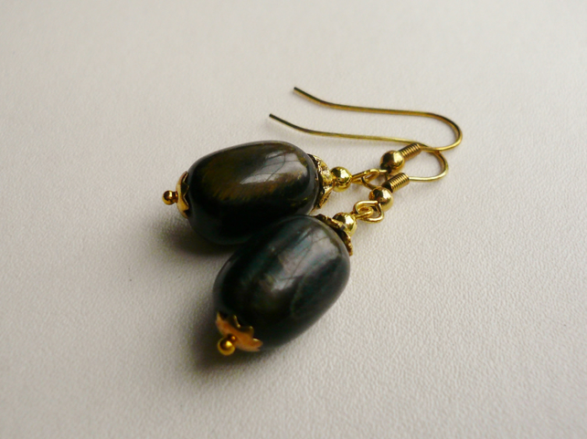 Semi Precious Blue Tiger Eye Dangle  Earrings   KCJE41