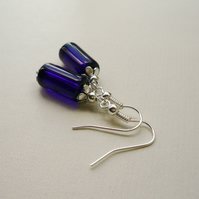 Blue Glass Tube Tibetan Silver Earrings    KCJE3