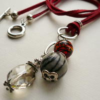 Smokey Grey Jasper and Red Glass Beaded  Silver  Cluster Necklace  KCJ167