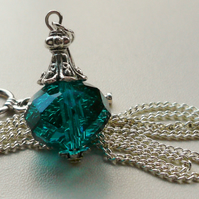 Teal Blue Glass 'Perfume Bottle' Pendant Necklace   KCJ579