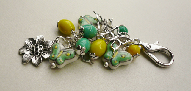 Green and Yellow Ceramic Bead Butterfly Themed Handbag Charm   KCJ1154