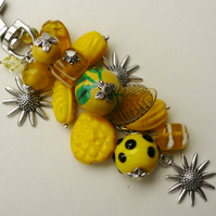 Yellow Mixed Bead Tibetan Silver Sunflower Handbag Charm     KCJ250