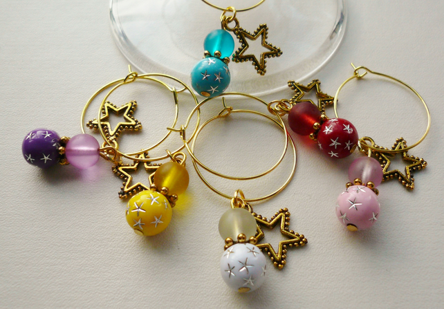Wine Glass Charms Multicoloured Gold Tone Star Theme  KCJWG1214