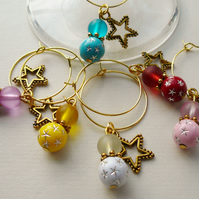 Wine Glass Charms Multicoloured Gold Plate Star Theme  KCJWG1214