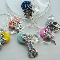Knitting Themed Spotted Button Silver Wine Glass Charms   KCJWG1200