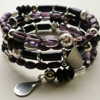 Memory Wire Wrap Purple Glass Mixed Bead Tibetan Silver Bracelet   KCJ1235