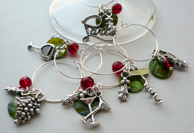 Christmas Holly Party Themed Wine Glass Charms  KCJWG1222