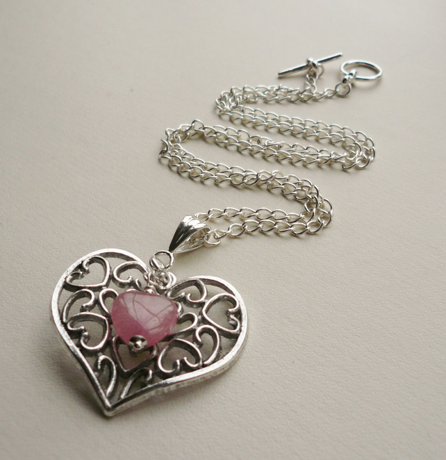 Tibetan Silver and Pink Glass Heart Pendant Necklace   KCJ1243