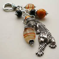 Black and Orange Glass Beaded  Silver Tiger Handbag Charm   KCJ1179