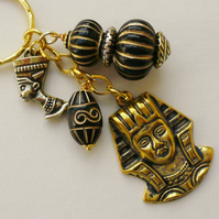 Black and Gold Beaded Gold Tone Egyptian Pharaoh Keyring   KCJ1314