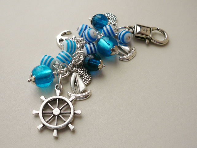 Aqua Blue Glass Bead  Silver Sailing  Nautical Themed Bag Charm KCJ1313