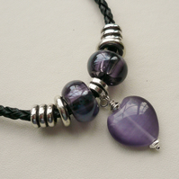 Purple Glass Cat's Eye Heart Bead and Tibetan Silver Bracelet   KCJ1316
