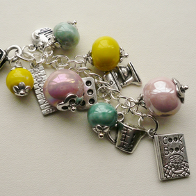 Pastel Coloured Ceramic Bead  Silver Baking  Handbag Charm  KCJ1330