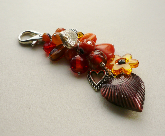 Orange and Amber Mixed Bead Silver Heart Handbag Charm KCJ227