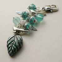 Pale Blue Glass Beaded Silver Bird Handbag Charm  KCJ1420