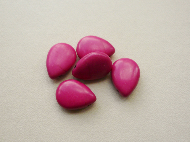 5  Bright Pink Howlite Tear Drop Beads