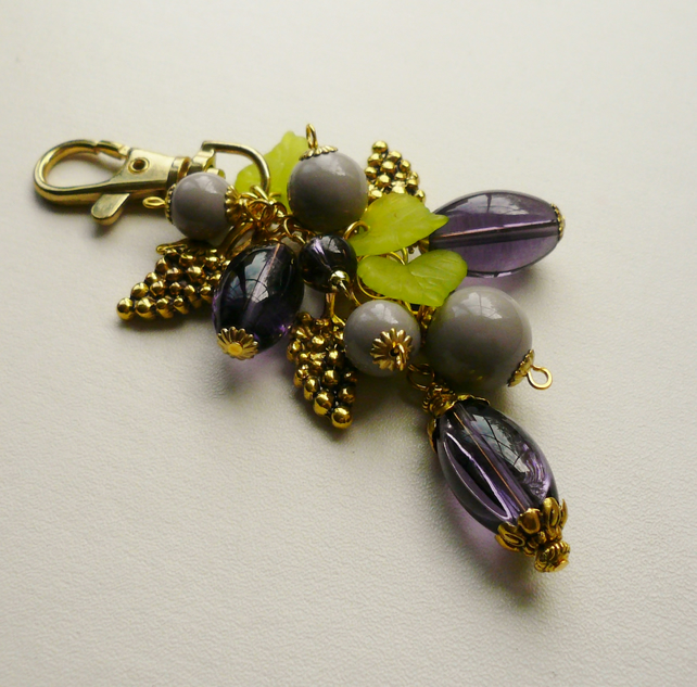 Purple, Green Beaded Gold Tone Grape Bunch Handbag Charm   KCJ1227