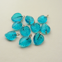10  Aqua Blue Glass Leaf Beads