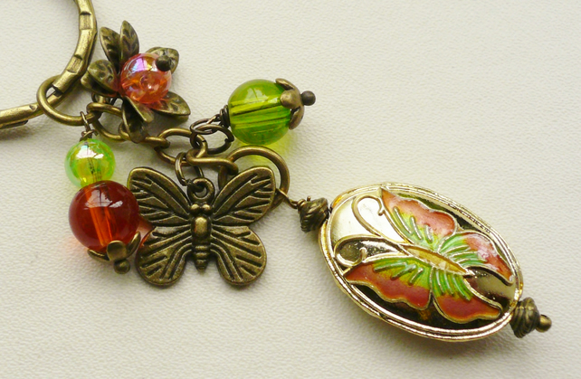 Green and Orange Antique Bronze Cloisonne Butterfly Glass Bead Keyring   KCJ1442