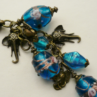 Handbag Charm Blue Indian Glass Bead Antique Bronze Elephant Themed KCJ1444