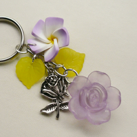 Keyring Lilac and Yellow Tibetan Silver Rose Themed KCJ1450