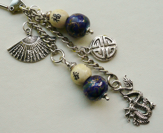 Bag Charm Blue Ceramic Cream Wooden Bead Tibetan Silver Chinese Dragon  KCJ1456