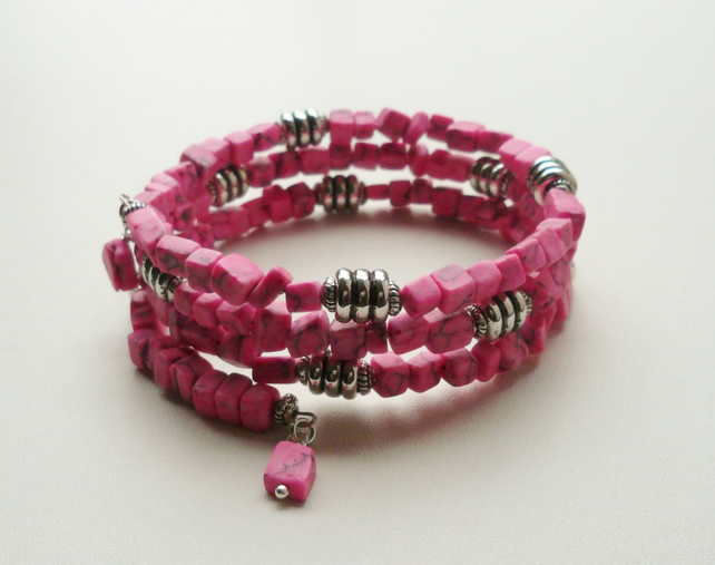 Wrap Around Bracelet Bright Pink Imitation Marble Cube Beaded   KCJ1467