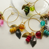 Wine Glass Charms Glass Howlite Black and Gold Tone Leaf  KCJ594