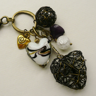 Handbag Charm Purple and White Glass Beaded Antique Bronze Wire Heart  KCJ624