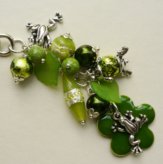 Handbag Charm Green Mixed Glass Bead Frog Themed  KCJ1489