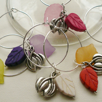Wine Glass Charms Howlite Lucite Tibetan Silver Leaf Themed  KCJ1492