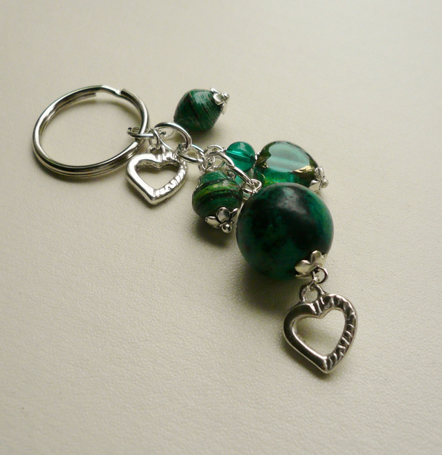 Green Chrysocolla and Beaded Tibetan Silver Heart Keyring  KCJ1497