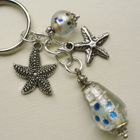 Blue Glass Beaded  Silver Starfish Keyring  KCJ1499