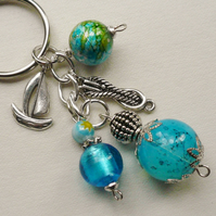 Keyring Aqua Blue Glass Bead Tibetan Silver Sailing Boat Themed  KCJ1511
