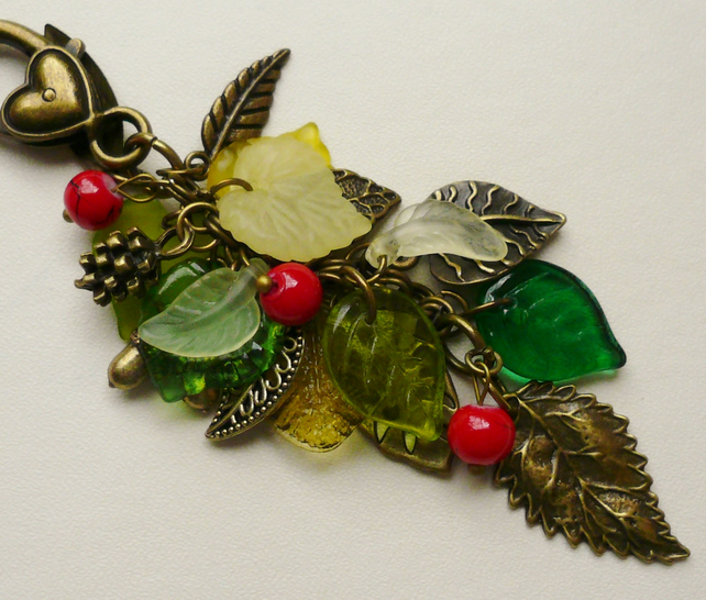 Handbag Charm Green and Red Antique Bronze Leaf Berry Themed   KCJ943
