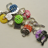 Handbag Charm Spotty Button Dressmaker Sewing Themed   KCJ1516