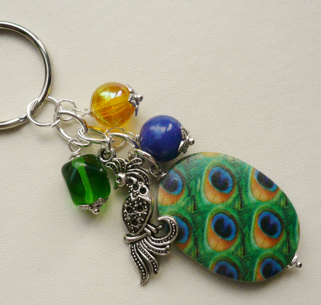 Green, Blue and Yellow Beaded Silver Peacock Keyring Bag Charm KCJ1523