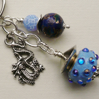 Keyring Blue Beaded Tibetan Silver Chinese Dragon Themed  KCJ1537