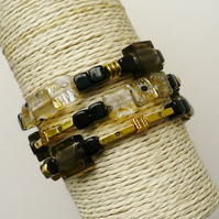 Wrap Around Bracelet Black and Gold Foil Lined Glass Bead Gold Tone KCJ1557