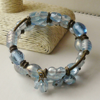 Memory Wire Bracelet Pale Blue Indian Glass Lustre Bead Antique Bronze KCJ1546