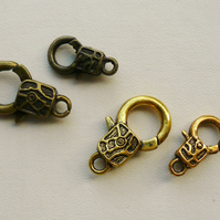 2  Sets Trigger or Lobster Clasps Gold Tone and Antique Bronze