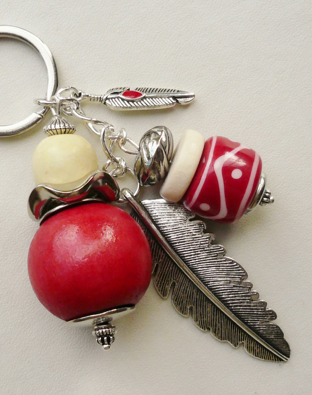 Keyring Bag Charm Red and Cream  Silver Feather Themed  KCJ1574
