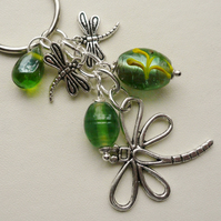 Keyring Bag Charm Green Indian Glass Lustre Bead Silver Dragonfly  KCJ1565