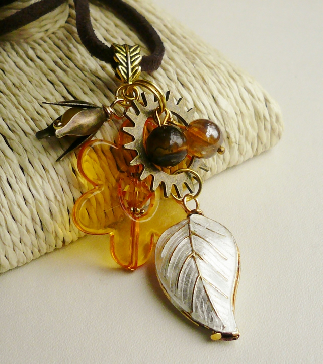 Cluster Necklace Orange Flower Cream Cloisonne Leaf  Mixed Metal  KCJ519